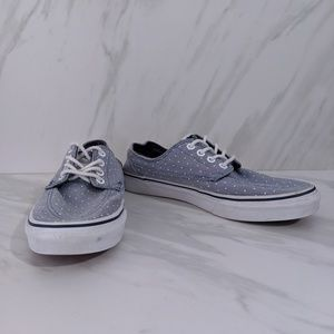 Vans blue chambray white polka dot sneakers